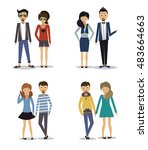 group of fashion cartoon young... | Shutterstock .eps vector #483664663