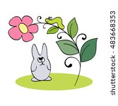 life in forest 2. hare and... | Shutterstock .eps vector #483668353