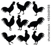 rooster vector silhouette... | Shutterstock .eps vector #483668488
