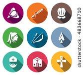 vector set of spanish... | Shutterstock .eps vector #483668710