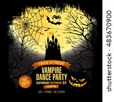 halloween party. vampire dance... | Shutterstock .eps vector #483670900