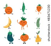 happy farm vegetables... | Shutterstock .eps vector #483671230