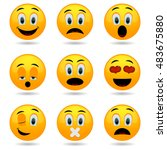 set of emoticons. smile icons.... | Shutterstock . vector #483675880