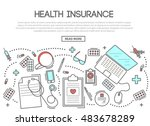 health insurance banner in... | Shutterstock . vector #483678289