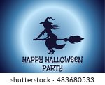 happy halloween house scary on... | Shutterstock .eps vector #483680533