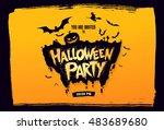 halloween party. vector... | Shutterstock .eps vector #483689680