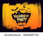 halloween party. vector... | Shutterstock .eps vector #483689710