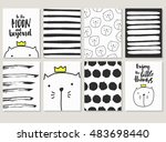 hand drawn cards with cats ... | Shutterstock .eps vector #483698440