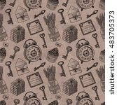 seamless pattern with vintage... | Shutterstock . vector #483705373