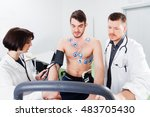 athlete does a cardiac stress... | Shutterstock . vector #483705430