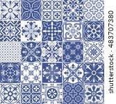 big vector set of tiles... | Shutterstock .eps vector #483707380