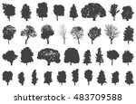 silhouettes of trees vector set | Shutterstock .eps vector #483709588