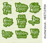 set of stickers. vegan menu ... | Shutterstock .eps vector #483711904