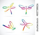 Stock vector vector group of dragonfly sketch on white background 483738826