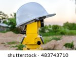 closeup theodolite outdoors at... | Shutterstock . vector #483743710