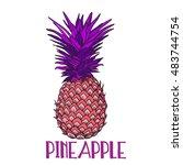 pineapple tropical fruit.... | Shutterstock .eps vector #483744754