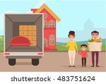 family moved into a new house.... | Shutterstock .eps vector #483751624