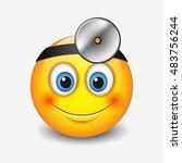 cute smiling doctor emoticon... | Shutterstock .eps vector #483756244