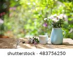 flowers with vintage pot and... | Shutterstock . vector #483756250