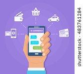m commerce concept banner.... | Shutterstock .eps vector #483761284