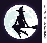 silhouette of beautiful witch... | Shutterstock .eps vector #483763294