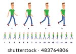 man walk cycle animation | Shutterstock .eps vector #483764806