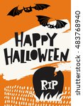happy halloween party poster... | Shutterstock .eps vector #483768940