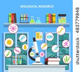 microbiology lab concept with... | Shutterstock . vector #483779848