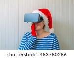 Woman With Christmas Santa...