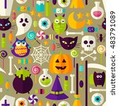 halloween seamless background.... | Shutterstock .eps vector #483791089