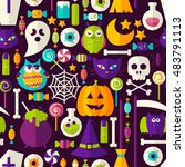 scary halloween seamless... | Shutterstock .eps vector #483791113