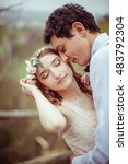 brunette man leans to woman's... | Shutterstock . vector #483792304