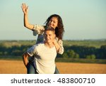 happy young couple walk on... | Shutterstock . vector #483800710