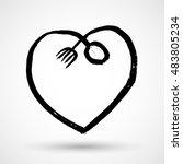 love food and heart vector... | Shutterstock .eps vector #483805234