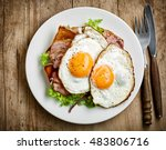 Plate Of Fried Eggs And Bacon...