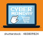 shopping cart and laptop icon.... | Shutterstock .eps vector #483809824