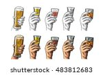 male hand holding a glasses... | Shutterstock .eps vector #483812683