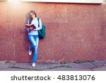 portrait of a happy thoughtful... | Shutterstock . vector #483813076