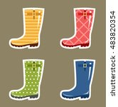 stickers gumboots for scrapbook.... | Shutterstock .eps vector #483820354