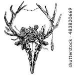 hand drawn reindeer skull with... | Shutterstock .eps vector #483820669