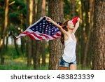pretty girl in shorts running...   Shutterstock . vector #483823339
