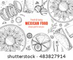 mexican food frame. mexican... | Shutterstock .eps vector #483827914