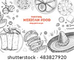 mexican food frame. mexican... | Shutterstock .eps vector #483827920