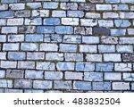 Background Of Blue Cobblestone...