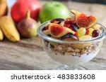 yogurt  muesli and fresh fruits ... | Shutterstock . vector #483833608
