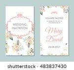 wedding set. romantic vector... | Shutterstock .eps vector #483837430