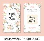 wedding set. romantic vector... | Shutterstock .eps vector #483837433