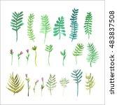 watercolor plants | Shutterstock .eps vector #483837508
