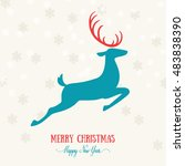 merry christmas card decoration ... | Shutterstock .eps vector #483838390