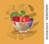 assorted healthy food icons... | Shutterstock .eps vector #483839644